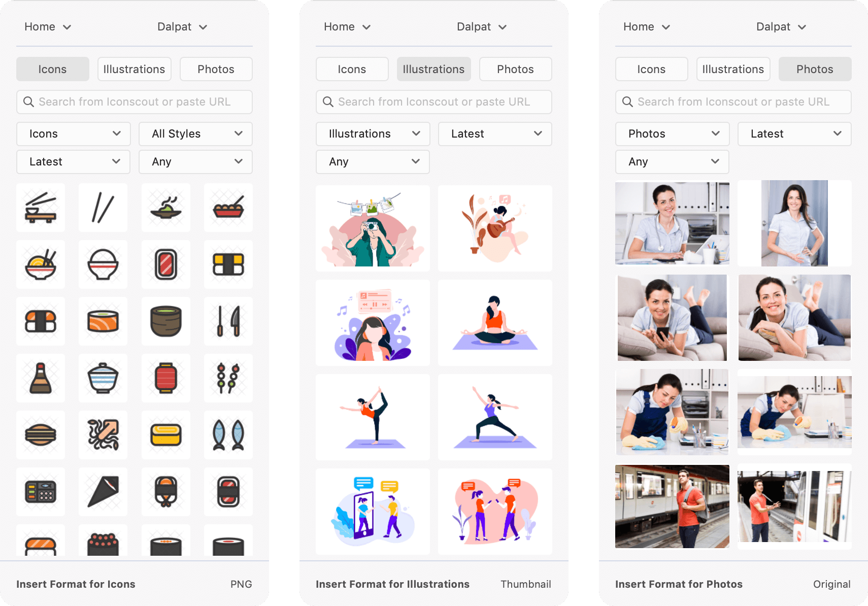Icons, Illustrations & Stock Photos in Icondrop for Adobe Xd